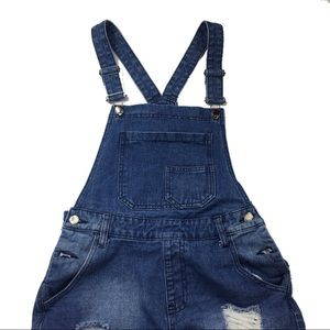 American Bazi Distressed Blue Torn Overalls sz Sm